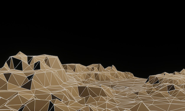 3d gesmolten bruine laag poly topografische berg met draadframe lijnen.
