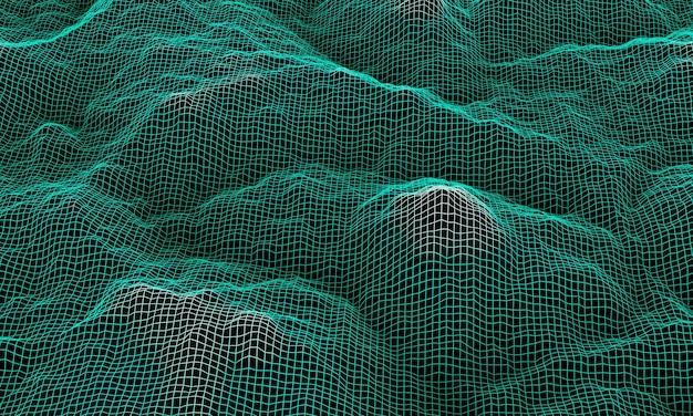 3d gesmolten groene topografische draadframe. bergrooster.