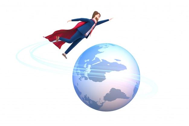3d gesmolten karakter van zakenman in een superheld kleding