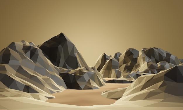 3d gesmolten laag poly berg en meer.