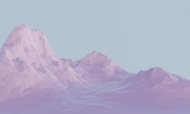 3d gesmolten laag poly berg.