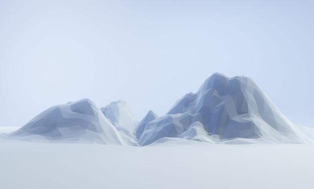 3d gesmolten laag poly ijsberg.