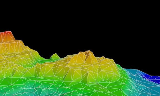 3d gesmolten laag poly topografische berg met draadframe lijnen.