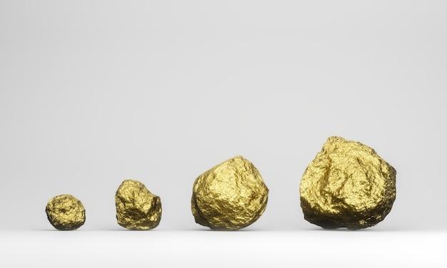 3d gesmolten pure goudklompjes op een witte achtergrond.