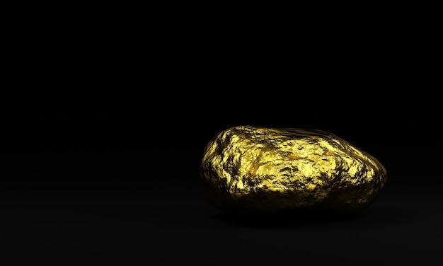 3d gesmolten puur goudklompje op zwarte achtergrond