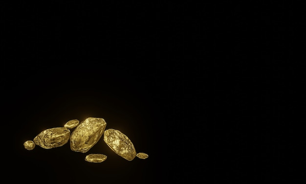 3d gesmolten puur goudklompjes op zwarte achtergrond.