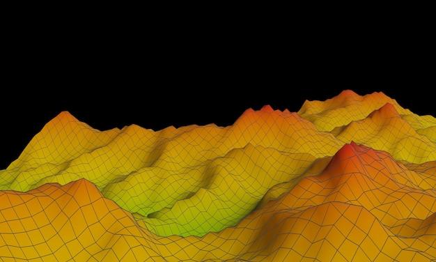 3d gesmolten topografische berg met draadframe lijnen.