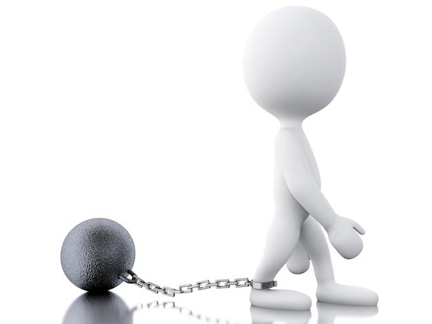 3d gestrafte crimineel gebonden met ijzeren bal.