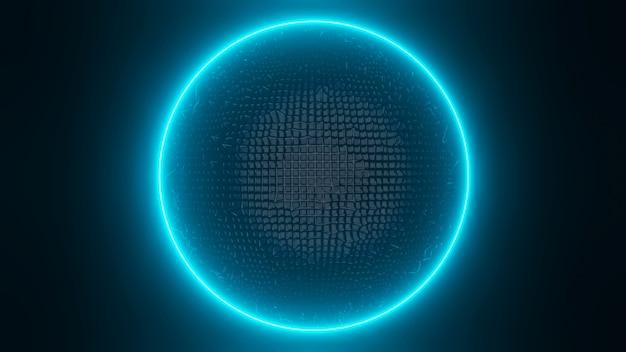 3d gladde zwarte en blauwe gloed ring rendering