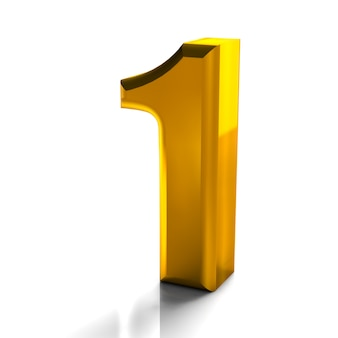 3d-glanzend gouden nummer 1 een collectie van hoge kwaliteit 3d render op wit wordt geïsoleerd