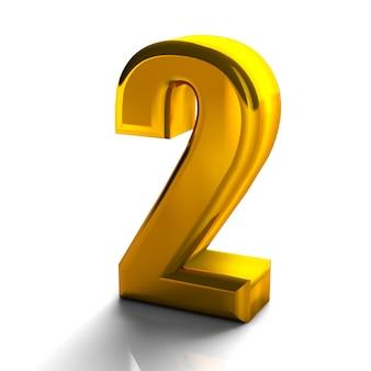 3d glanzend gouden nummer 2 twee collectie van hoge kwaliteit 3d render op wit wordt geïsoleerd