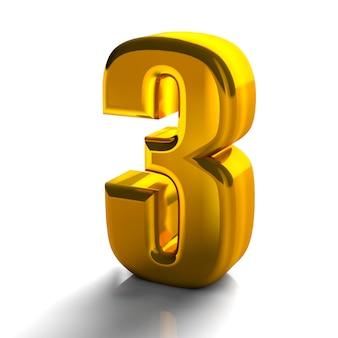 3d glanzend gouden nummer 3 drie collectie van hoge kwaliteit 3d render op wit wordt geïsoleerd