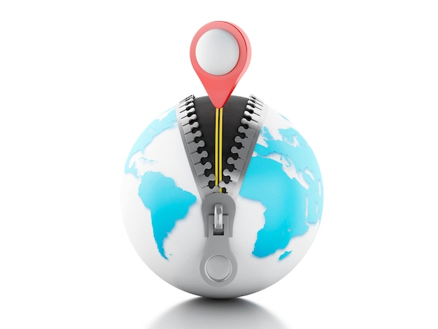 3d globe met open ritssluiting en een kaartwijzer erop