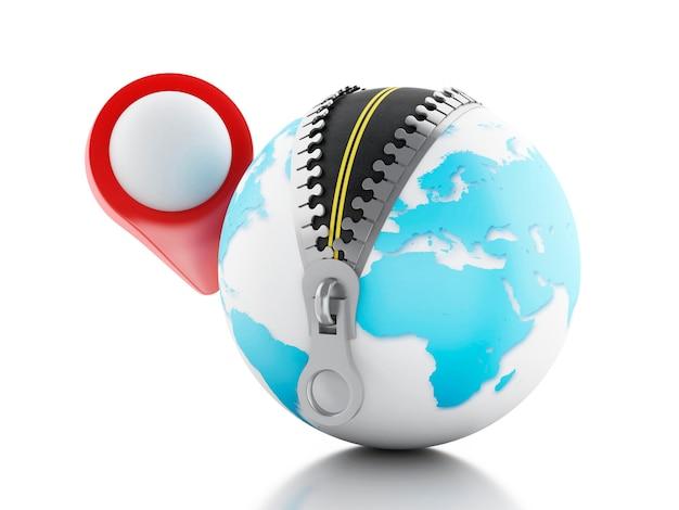 3d globe met open ritssluiting en een kaartwijzer