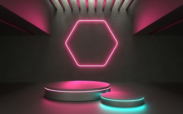 3d gloeiend neon productpodium voor showcase of promo-techproduct