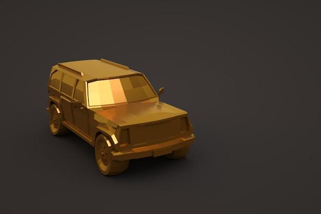 3d-gouden auto geïsoleerd op een donkere achtergrond. grote gouden personenauto. 3d illustratie, close-up