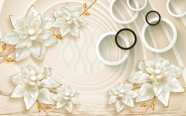 3d gouden bloemen en witte cirkels op 3d achtergrond. muurschilderingen voor woondecoratie