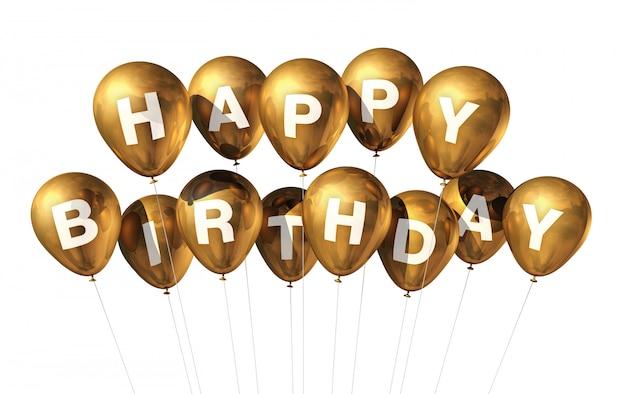 3d gouden gelukkige verjaardagsballons die op witte achtergrond worden geïsoleerd