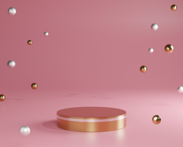 3d gouden minimale podia, sokkels, stappen op roze achtergrond en gouden baldecoratie. bespotten. 3d-weergave.