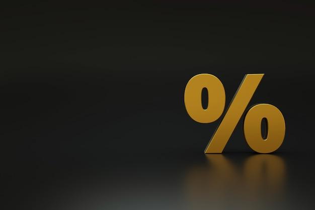 3d gouden percentagepictogram op een donkere zwarte geïsoleerde achtergrond. 3d illustratie van het percentagepictogram op een donkere achtergrond. gouden object van belang. 3d-graphics