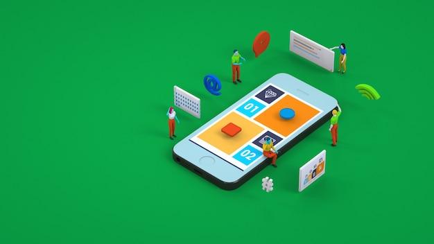 3d-graphics, betaling voor bestellingen via smartphone. betaling voor diensten, online winkelen, pincode, e-mail, wachtwoord. teamwerk.