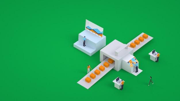 3d-graphics. plaats van levering van bestellingen, sorteren van pakketten. pakketsorteersysteem op het postkantoor. online bestellingen
