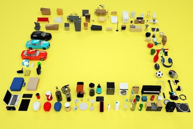 3d-graphics, veel 3d-modellen van huishoudelijke apparaten en meubels. verzameling van items van een computer, telefoon, waterkoker, broodrooster, gameconsole, enzovoort. bovenaanzicht. geïsoleerde objecten op een gele achtergrond