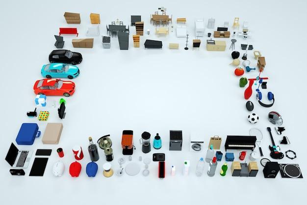 3d-graphics, veel 3d-modellen van huishoudelijke apparaten en meubels. verzameling van items van een computer, telefoon, waterkoker, broodrooster, gameconsole, enzovoort. bovenaanzicht. geïsoleerde objecten op een witte achtergrond