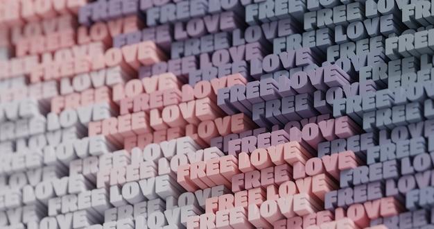 3d gratis liefde. abstracte typografische 3d belettering achtergrond. modern helder trendy woordpatroon in lichtroze, grijs, grafietkleurenpalet. eigentijdse omslag, decor voor presentaties