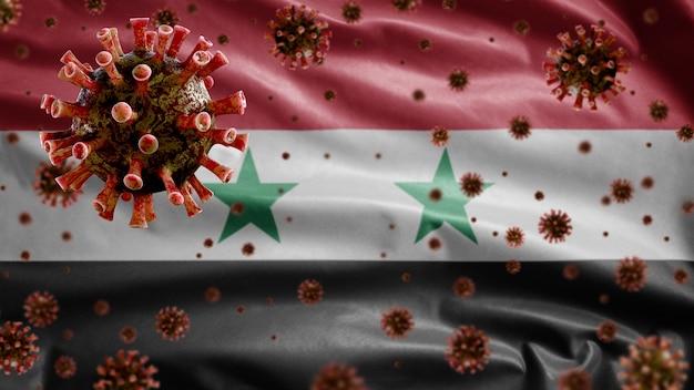 3d, griepcoronavirus dat boven de syrische vlag zweeft, een ziekteverwekker die de luchtwegen aantast. syrië-sjabloon zwaait met pandemie van het covid19-virusinfectieconcept.