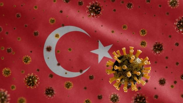 3d, griepcoronavirus dat boven de turkse vlag zweeft, een ziekteverwekker die de luchtwegen aantast. turkije-sjabloon zwaaien met pandemie van het covid19-virusconcept.