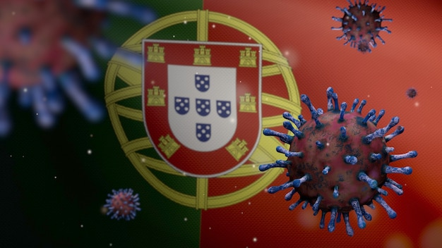 3d, griepcoronavirus dat over de portugese vlag zweeft, een ziekteverwekker die de luchtwegen aanvalt. portugal banner zwaaien met pandemie van covid19 virusinfectie concept. vlag van echte stoftextuur