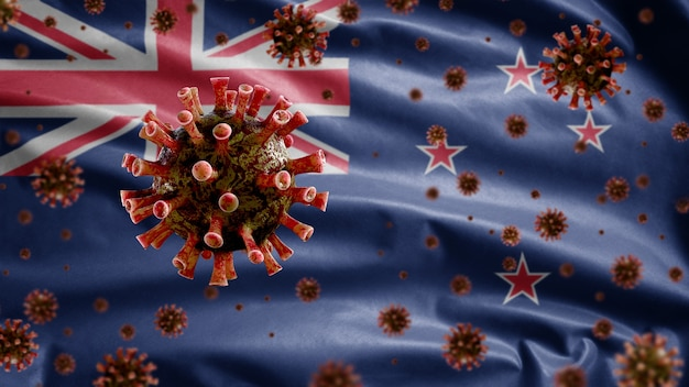 3d, griepcoronavirus zweeft boven de vlag van nieuw-zeeland, een ziekteverwekker die de luchtwegen aantast. nieuw-zeelandse sjabloon zwaaien met pandemie van het covid19-virusinfectieconcept