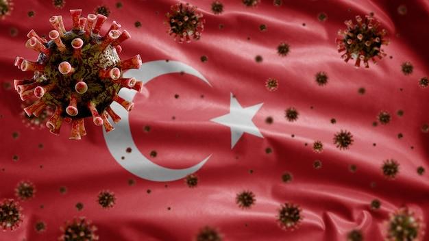 3d, griepcoronavirus zwevend boven de turkse vlag, ziekteverwekker die de luchtwegen aantast. turkije-sjabloon zwaaien met pandemie van het covid19-virusinfectieconcept.