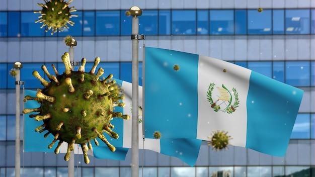 3d, griepcoronavirus zwevend over de guatemalteekse vlag met moderne wolkenkrabberstad. guatemala banner zwaaien met pandemie van covid19 virusinfectie concept. vlag van echte stoftextuur