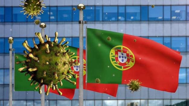 3d, griepcoronavirus zwevend over de portugese vlag met moderne wolkenkrabberstad. portugal banner zwaaien met pandemie van covid19 virusinfectie concept. vlag van echte stoftextuur