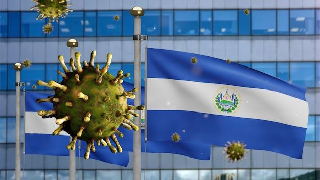 3d, griepcoronavirus zwevend over de salvadoraanse vlag met moderne wolkenkrabberstad. salvador banner zwaaien met pandemie van covid19 virusinfectie concept. vlag van echte stoftextuur