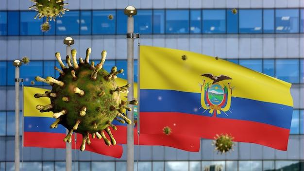3d, griepcoronavirus zwevend over ecuadoraanse vlag met moderne wolkenkrabberstad. ecuador banner zwaaien met pandemie van covid19 virusinfectie concept. vlag van echte stoftextuur