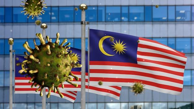 3d, griepcoronavirus zwevend over maleisische vlag met moderne wolkenkrabberstad. maleisië banner zwaaien met pandemie van covid19 virusinfectie concept. vlag van echte stoftextuur