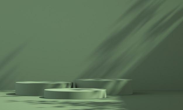 3d groen product podium display met groene achtergrond en boom schaduw, zomer product mockup achtergrond, 3d render illustratie