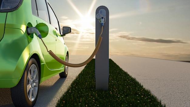3d groene elektrische auto die bij de stationlader laadt. 3d-weergave