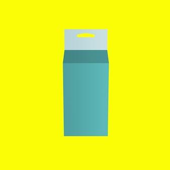 3d groene geneeskunde hangende doos geïsoleerd op gele achtergrond. geschikt voor uw ontwerpelement.