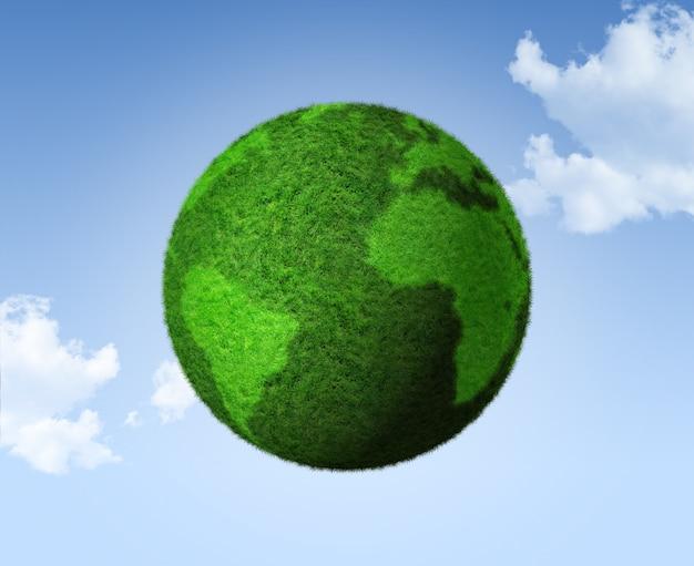 3d groene grasbol op een blauwe hemel
