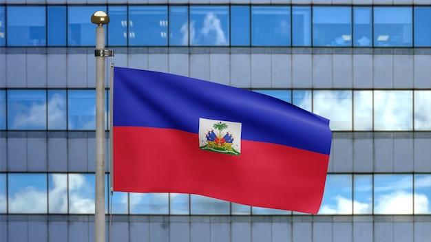 3d, haïtiaanse vlag zwaaien op wind met moderne wolkenkrabber stad. close up van haïti banner waait, zacht en glad zijde. doek stof textuur vlag achtergrond.