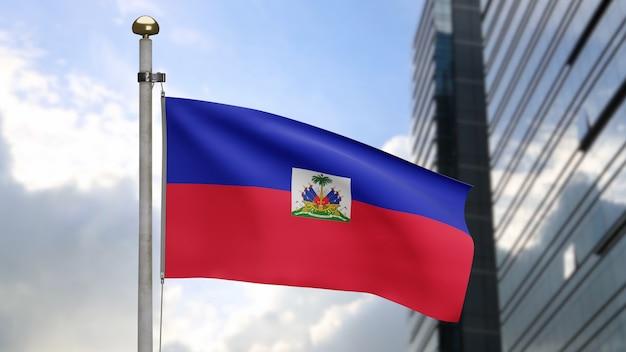 3d, haïtiaanse vlag zwaaien op wind met moderne wolkenkrabber stad. haïti banner waait, zachte en gladde zijde. doek stof textuur vlag achtergrond. gebruik het voor het concept van nationale dag en landgelegenheden.