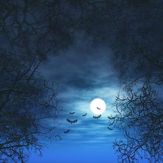 3d halloween-achtergrond met bomen tegen maanbeschenen hemel