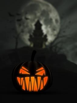 3d halloween achtergrond met enge lantaarn van jack o en het kasteel op de achtergrond