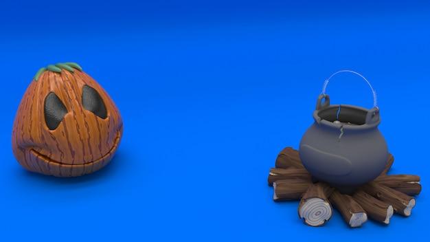 3d halloween-achtergrond met pompoenen