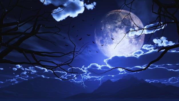 3d halloween-landschap met bomen tegen een maanbeschenen hemel