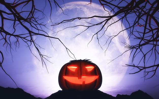 3d halloween-pompoen in maanbeschenen landschap